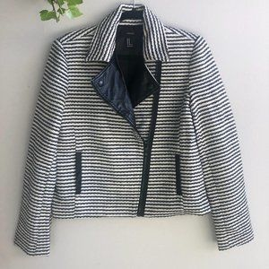 Quilted black/white moto jacket F21 M